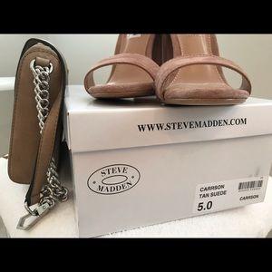 Steve Madden Carrson Tan Suede Block Heeled Sandal